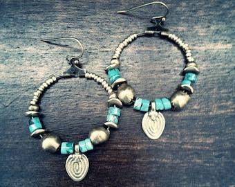 Tribal Hoop,Turquoise Hoop Earrings,Brass Tribal Earrings,Turquoise Hoops,Boho Chic,african tribal, Gold Hoops,Gold,Tribal Gold EArrings