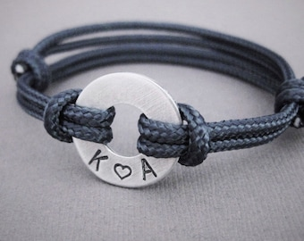 Bracelet, Small Aluminum Disk with Stamped initials and adjustable Nylon Paraline cord, Custom initials, Unisex adjustable bracelet, Husband