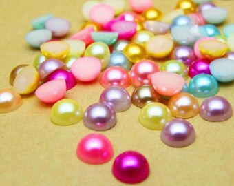 Pearl Cabochons Flat Backs Assorted Cabochons Half Pearl 8mm Cabochons BULK Flatbacks 100pcs