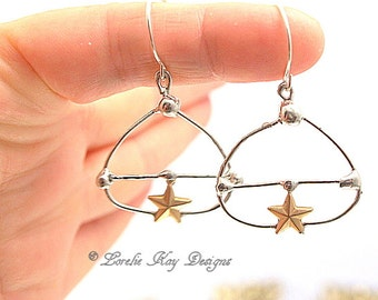 Star Earrings Soldered Abstract Free Form Organic Lightweight Boho Beach Jewelry Soldered Earrings