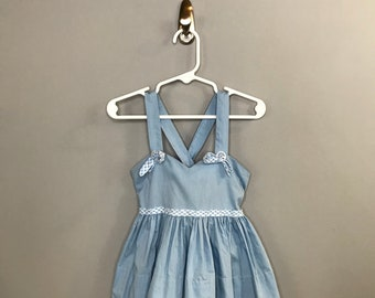 1950s Blue Girls Dress / Vintage Pastel Blue Little Girls Sun Dress / Floral 2T Toddler 18-24 Mo