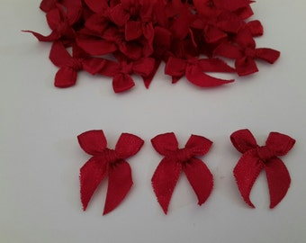 Dark RED 100 mini Satin Ribbon Bows Applique Embellishments 7mm size