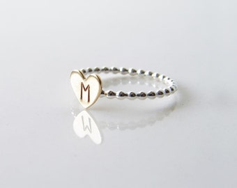 Monogram Ring. Personalized Heart Ring. Small Hand Stamped Initials Ring. Friendship, Bridesmaid Gift. Simple Modern Jewelry