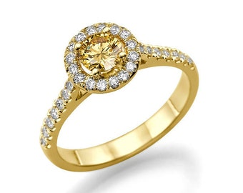 Yellow Diamond Ring, 14K Gold Ring, Halo Engagement Ring, 0.92 TCW Yellow Diamond Engagement Ring, Halo Ring, Unique Rings