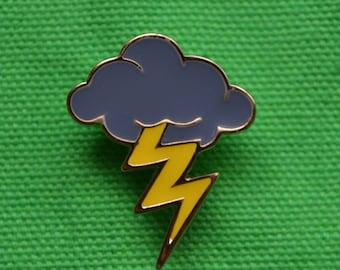 Soft Enamel Pin Storm Cloud Lightning Bolt Pin Rain Cloud Mother Nature