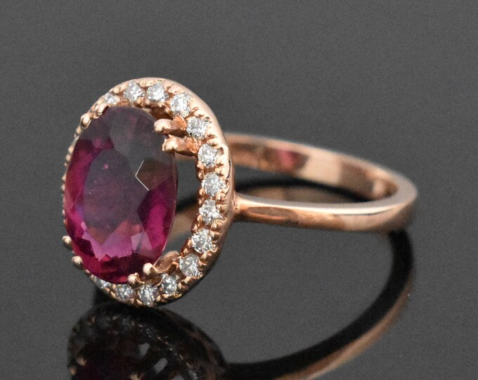14K Rose Gold Rubellite Tourmaline and Diamond Ring | Engagement Ring | Wedding Ring | Statement Ring | Diamond Halo | Handmade Fine Jewelry