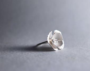 Sterling Poppy Ring | Poppy Flower Ring | Botanical Ring | Sterling Silver Flower | Nature Inspired Ring | Girlfriend Gift | Bridal Jewelry