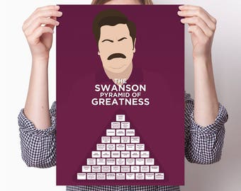 Ron Swanson Pyramid of Greatness large poster from Parks and Recreation (Nick Offerman)