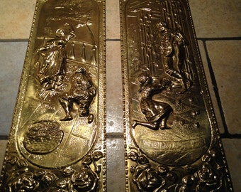 Pair of Brass Textured Wall Plaques