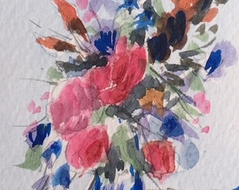 Floral ORIGINAL Miniature Watercolour 'Pink Arrangement' ACEO, Flowers, For him, For her,  Home Decor, Wall Art, Gift Idea, Free Shipping