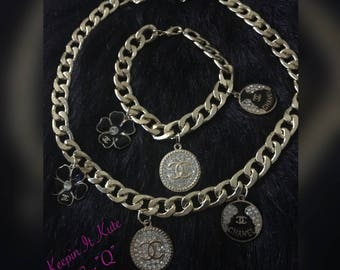 Chunky inspired by chain and bracelet w/charms
