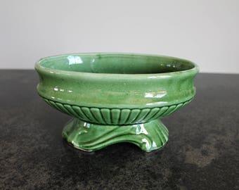 Vintage Green Ceramic Planter, Pottery, Succulent Planter