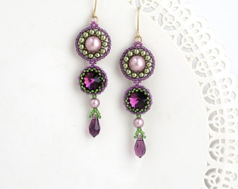 Long drop earrings, Purple crystal earring, Purple earrings, Long earrings, Purple drop earrings, Long beaded earrings, Long dangle earrings