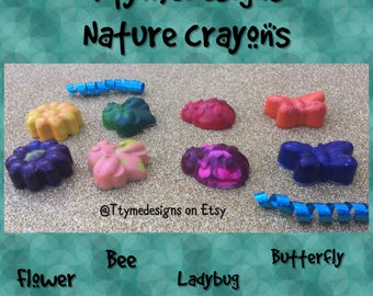 Crayons-Nature-Flowers-Bees-Butterflies-Ladybug-For Birthdays-Class Parties- Easter-Babyshowers-Playdates-daycares-Sensory Item#NC2018TD