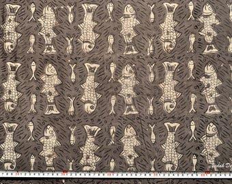 custom made Coastal Print Kitchen linen napkins Fish Print Block Print Fabric Mudcloth Jaipur Fabric napkins