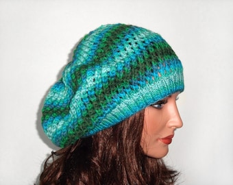 Hand Knitted Hat Hand Knit Slouchy Hat Knitted Slouchy Beanie Stylish Hat Slouchy Beret- Shades of Green