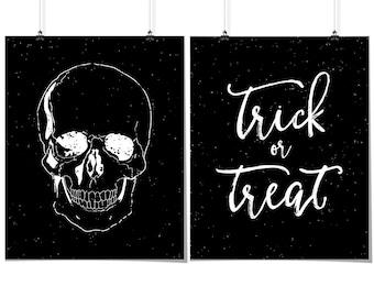2 halloween prints skull print trick or treat print distressed halloween - Halloween Prints