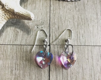 Pink crystal heart earrings