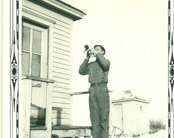 1930s Bugle Player MN Farm Boy Playing Trumpet Horn Outside Winter 30s Vintage Photograph Black White Photo
