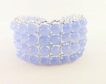 Sale / Clearance / Beaded Bracelet  / Seed Bead Bracelet in Icy Blue and Silver  / Winter Bracelet / Beadwork Bracelet