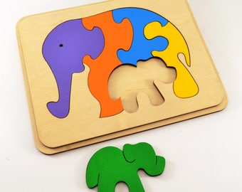 Wooden Toys Wooden puzzle Chrisrmas baby gifts Wooden animal gift Educational toy Animal puzzle Elephants family Haloween baby gift Gift 1st