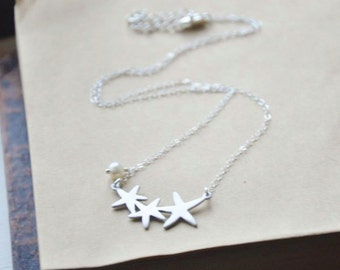 Starfish Necklace - Silver Starfish, Silver Necklace, Beach Necklace, Summer Necklace, Dainty Necklace, Sea Star Necklace, Girl Necklace