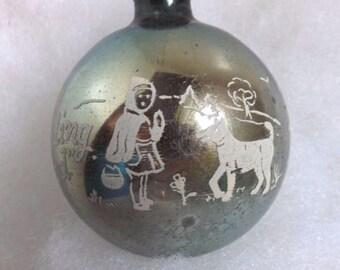 Vintage aqua glass ball Shiny Brite Christmas ornament nursery rhyme stencil Little Red Riding Hood