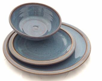 Jenu0027s special order 8- 3 piece Twilight Blue Ceramic Pottery Dinnerware - Stoneware Dinner Plates Set Ceramic tableware and 2 Mugs  sc 1 st  Etsy & 3 piece Blue Ceramic Pottery Dinnerware Set Stoneware Dinner