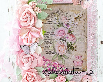 Shabby Chic Celebrate / Birthday / Graduation / Promition Shaker Card