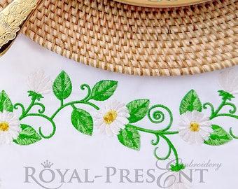 Beautiful daisies border Machine Embroidery Design - 2 sizes