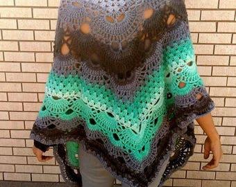 Genie -  Crocheted Shawl in Teal