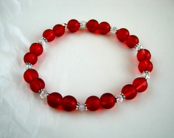 Cranberry Red Stretch Bracelet Crystal and Cranberry Red Bracelet