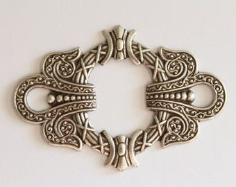 Ornate vintage-style oxidized silver stamping - 55x38mm (1)