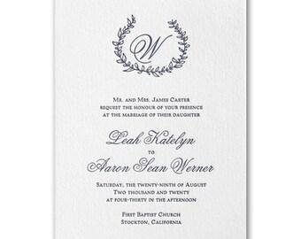 Whimsical Wreath Letterpress Wedding Invitation
