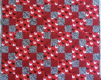 Chicken Quilt, Red Quilt, Black Quilt, Farm Animal Quilt, Barnyard Quilt, Black and White Quilt