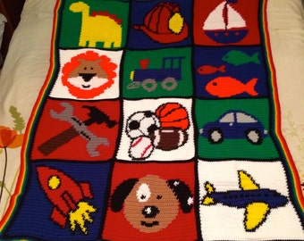 Big Boy Blanket - Big Boy Afghan - Boy Picture Blanket - Boy Picture Afghan - Ready to Ship - 39 x 51 inches