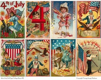 4TH OF JULY Vintage Postcards 6 - Instant Download Digital Collage Sheet
