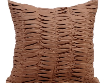 Brown Throw Pillows for Bed 16x16 Pillow Covers Suede Throw Pillows Covers with Pleats - Brown Wind Folds