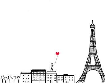 Paris, je t'aime - Paris, France skyline with Eiffel Tower - print card by Pauline Rousseau