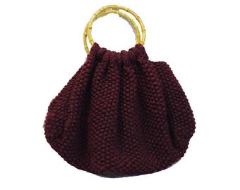 Large Deep Red Handbag with Bamboo Handles