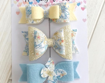 SALE Ready To Ship Girls floral hair bows clip set of 3 handmade from Liberty London Tana Lawn Fabric and 100% wool felt Lemon Yellowblue