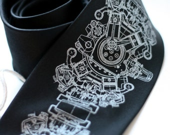 "Engine Print men's tie. Inline-3 motor screenprinted silk necktie. ""Engine Rosette"" choose black silkscreened tie & more!"