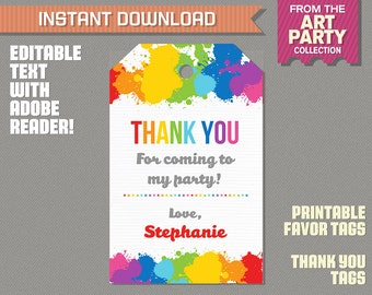 Art Party Favor Tag / Art Party Thank you Tag - Art Birthday - Art Party - Edit and print at home with Adobe Reader - Instant Download