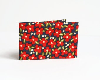 Red Flower Oyster Card Holder, Stocking Filler, Travel / Subway Card Wallet. Fabric Credit Card Case - Red and Navy Floral
