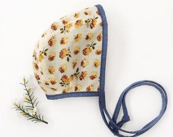 denim and vintage floral bonnet