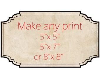 small photo print, 5x5 photo print, 5x7 photo print, 8x8 photo print, custom size, Cute Photograph