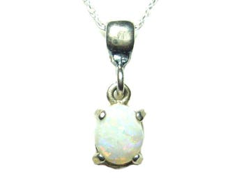 Opal sterling silver pendant with chain