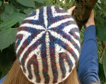 Fair Isle Knitted Colorful Corrugated Ribbed Cap from Handspun Wool