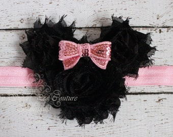 Pink Minnie Rosette Headband- Halloween Headband- Baby Girl Headband- Baby Headband- Infant Headband- Birthday Headband- 1st Birthday