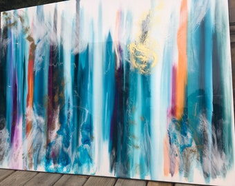 SOLD Large Teal Orange Purple resin painting with gold accents canvas art